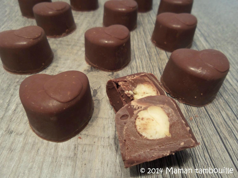 Chocolat coeur nutella, noisette