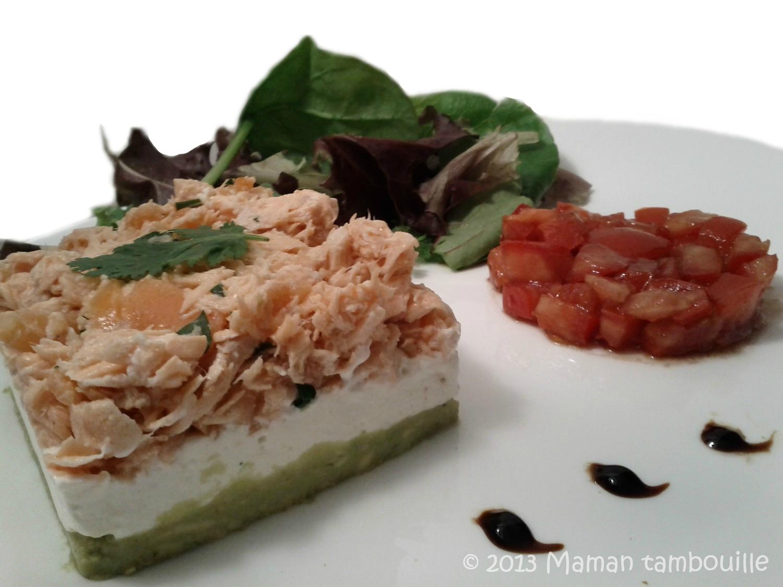 Duo de saumon sur lit de guacamole et fromage frais