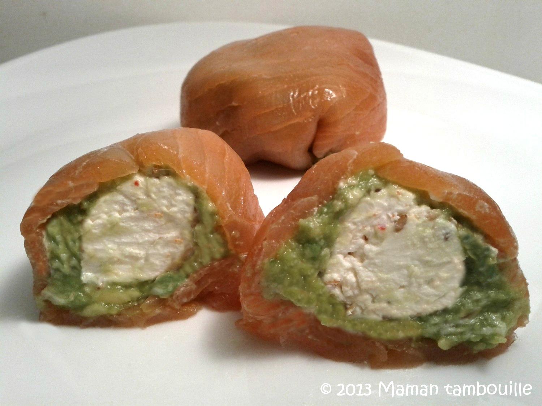 Ballottines de saumon à l'avocat/coeur de fromage frais