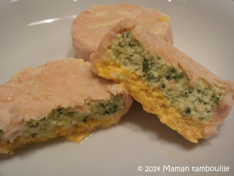 Timbales de saumon à la courgette et au poivron jaune