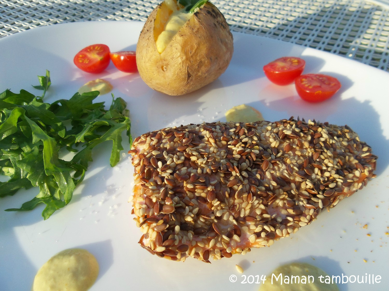 Pavé de saumon en croûte de graines sauce au curry [Défi Food Reporter]