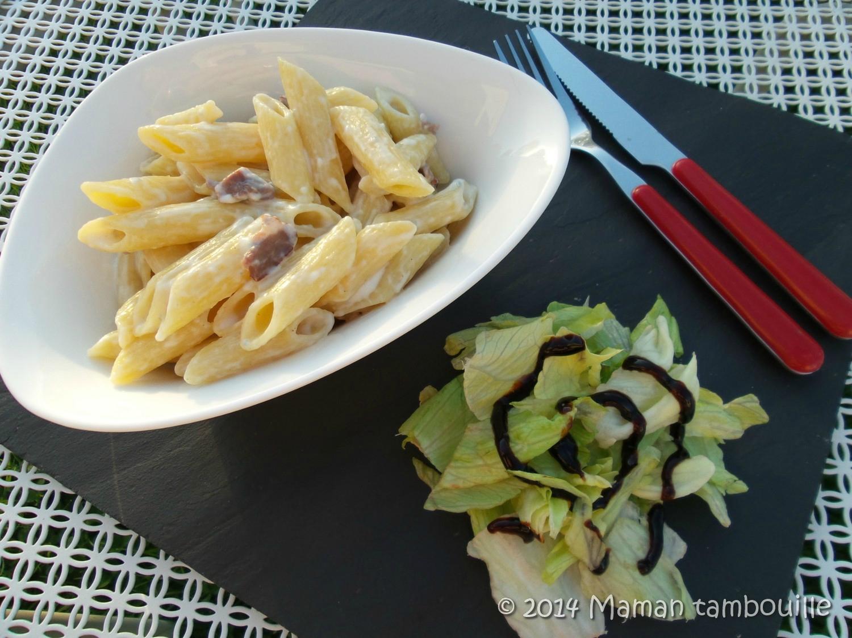 Pâtes au gorgonzola et jambon fumé