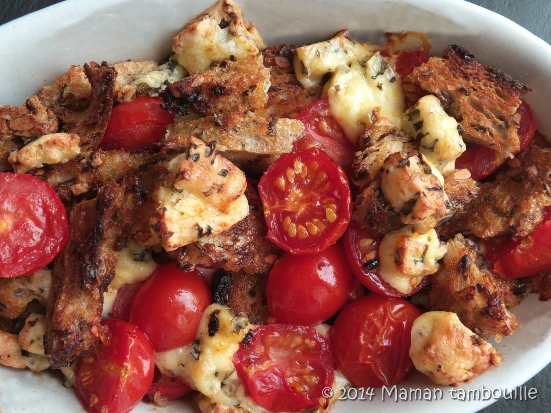 Gratin de pain aux tomates et fourme d'ambert