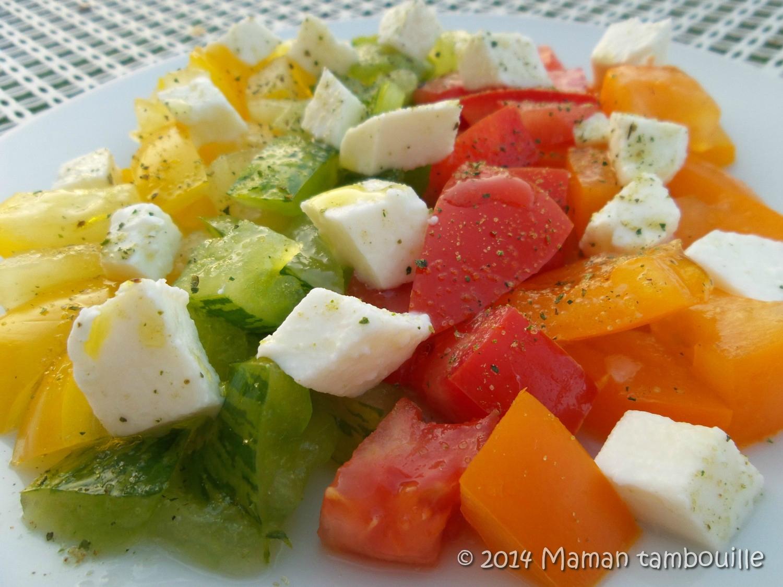 Tomates mozzarella en couleurs