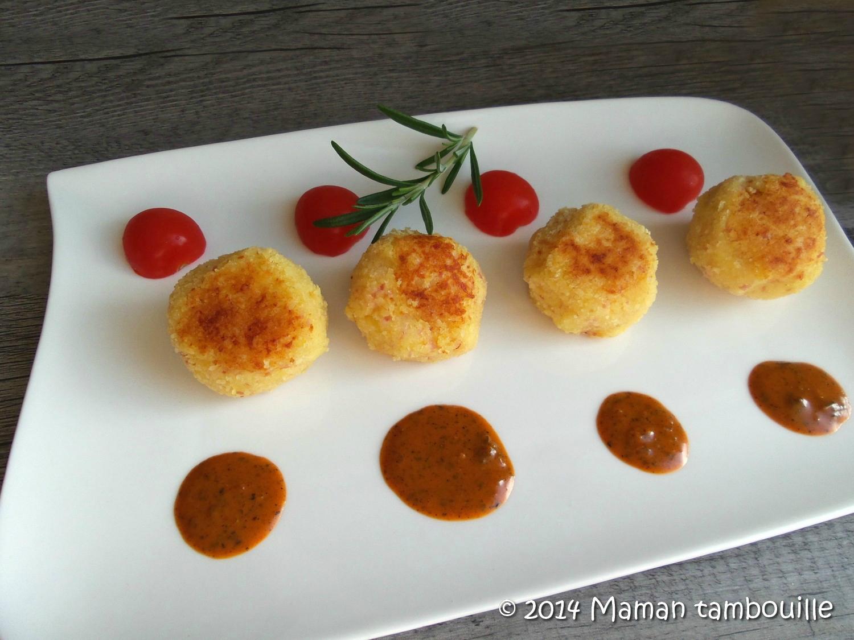 Croquettes de purée au jambon et fromage