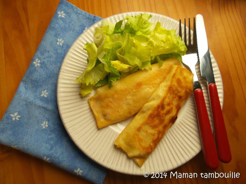 Crêpes fourrées au jambon et fromage