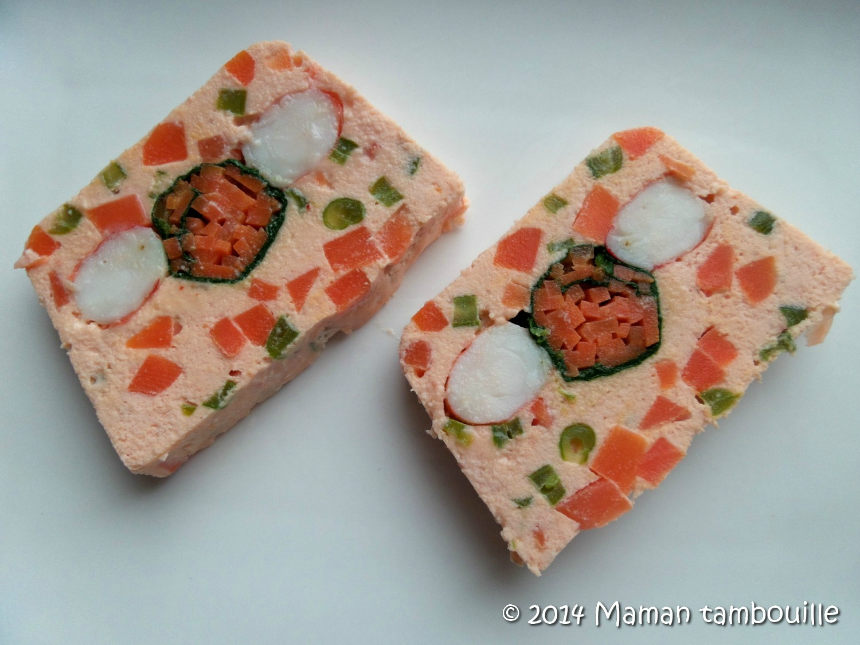 Terrine de saumon et gambas aux petits légumes