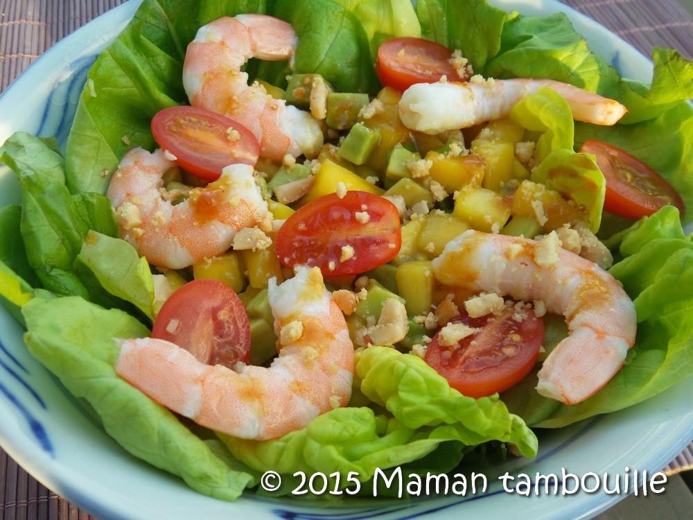 Salade exotique crevettes mangue et avocat