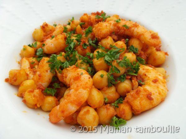 Crevettes aux pois chiche et chorizo