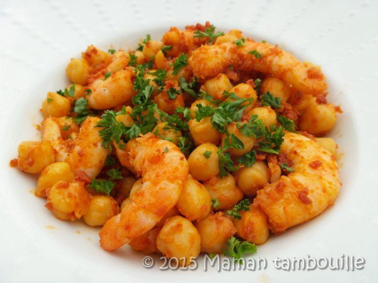 Read more about the article Crevettes aux pois chiche et chorizo