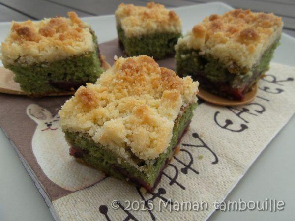Gâteau pistache cerise crumble