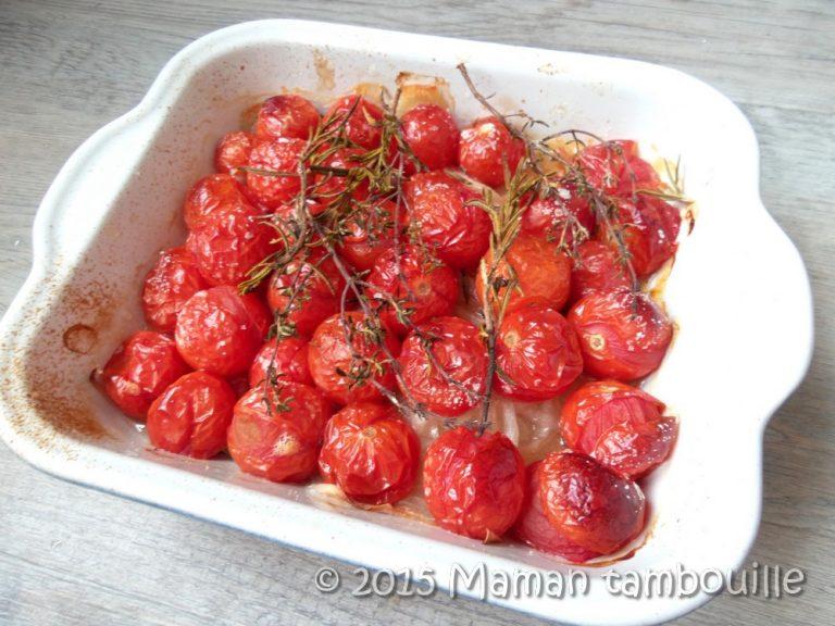 Tomates cerises rôties aux oignons confits