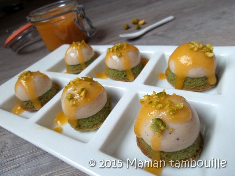 Flan vanillé au pioka sur sablé pistache, coulis d'abricot