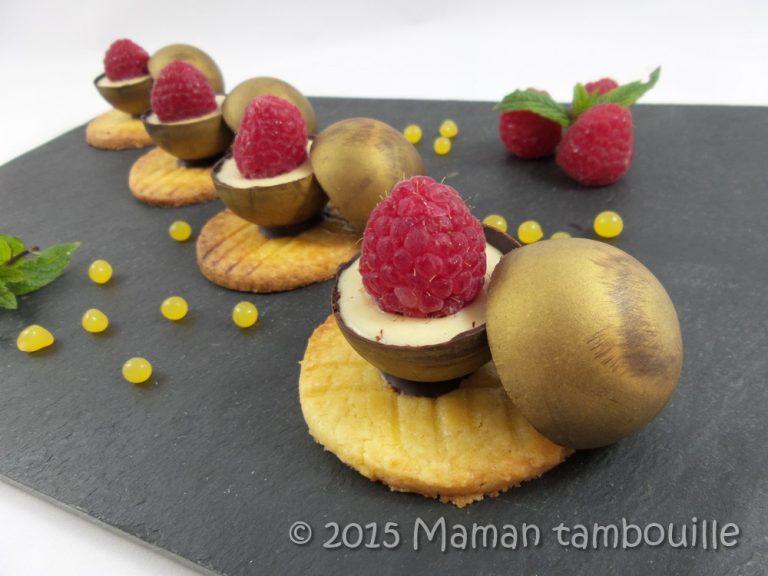 Mini sphères crémeux vanille framboise