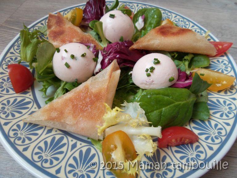 Read more about the article Salade bricks de crevettes et mini dômes de saumon