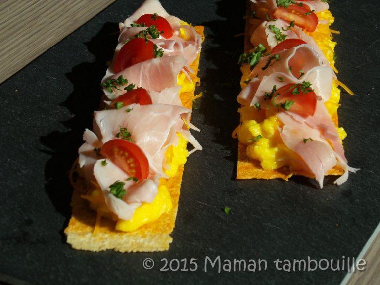 Read more about the article Tarti-chips aux œufs brouillés et chiffonnade de jambon