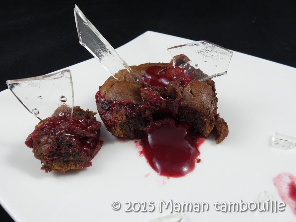 Moelleux au chocolat cœur framboise et ses éclats de verre
