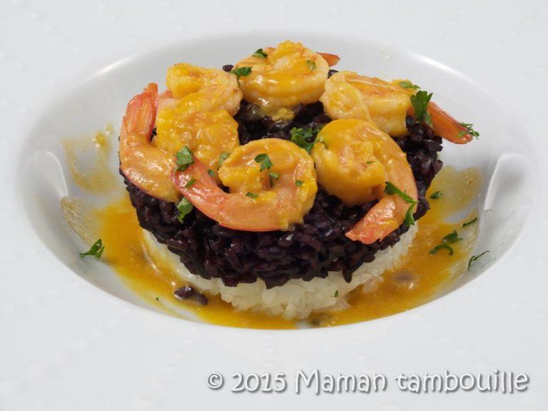 Read more about the article Crevettes sauce à l'orange et duo de riz