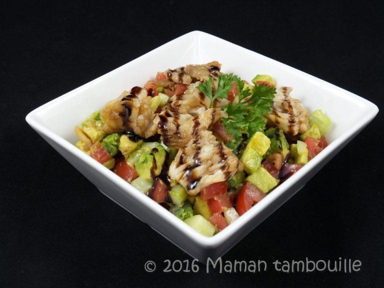 Cabillaud au soja sur salsa de légumes