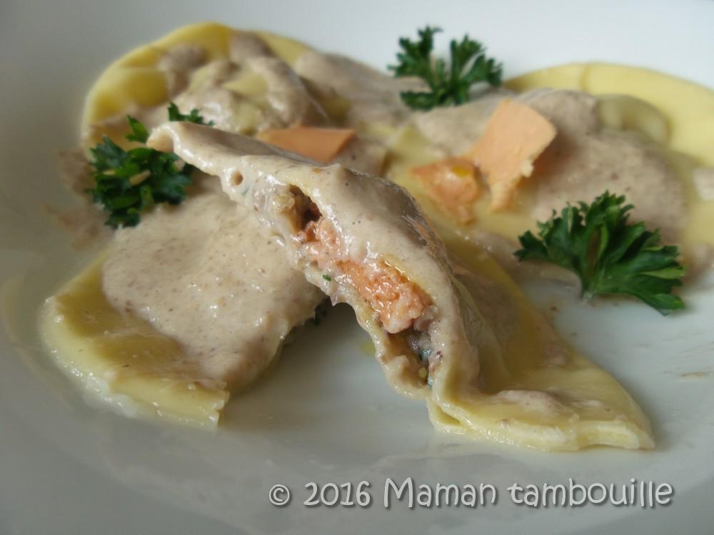 Ravioles de foie gras aux cèpes