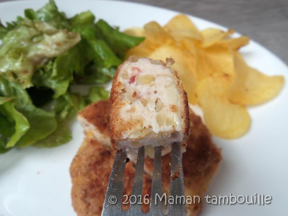 Pané de poulet aux pommes de terre et fromage