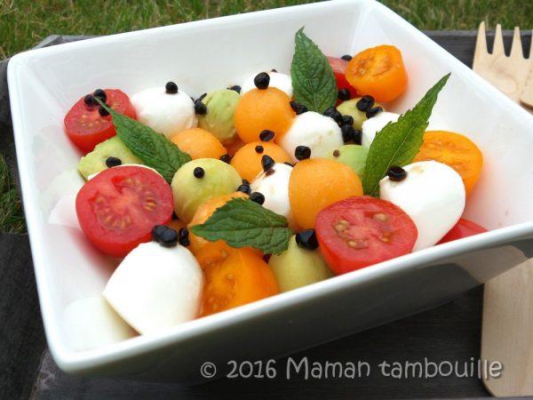 Méli mélo de melon et ses billes de balsamique