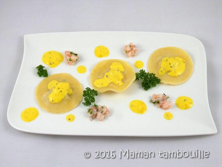 Ravioles aux crevettes sauce safranée