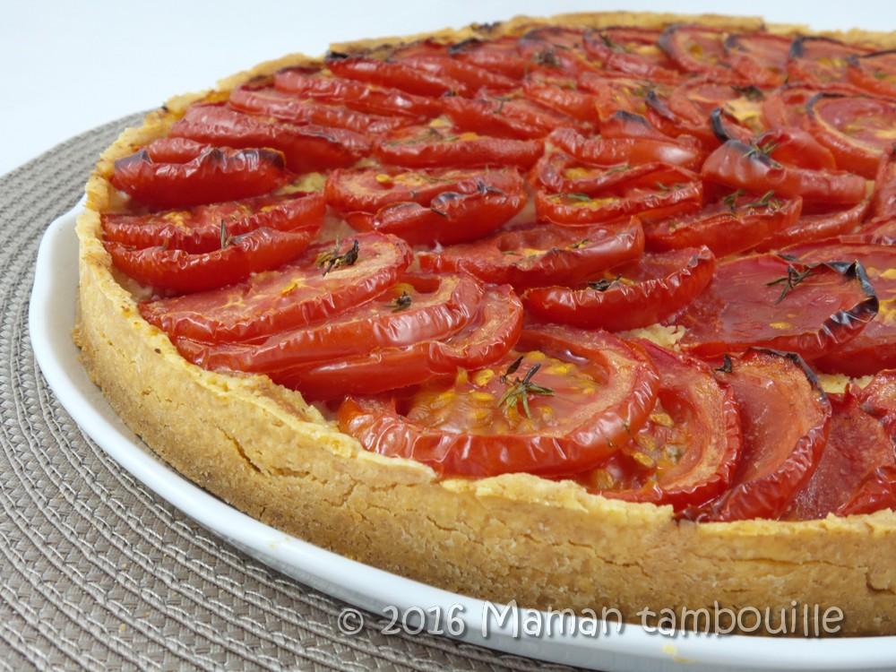 Tarte à la tomate sur sa crème d'amande