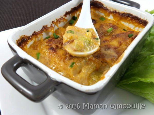 Ravioles de royans gratinées à la bisque de homard