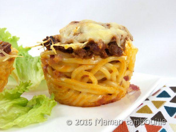 Muffins de spaghetti bolognaise
