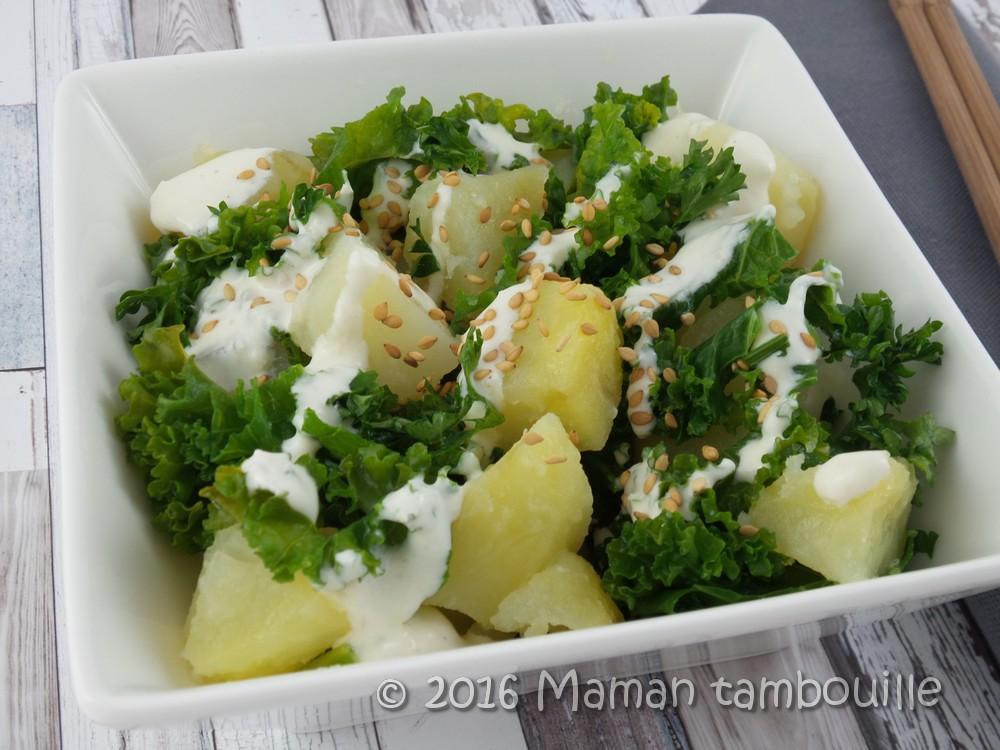 Pommes de terre et chou kale sauce tahin