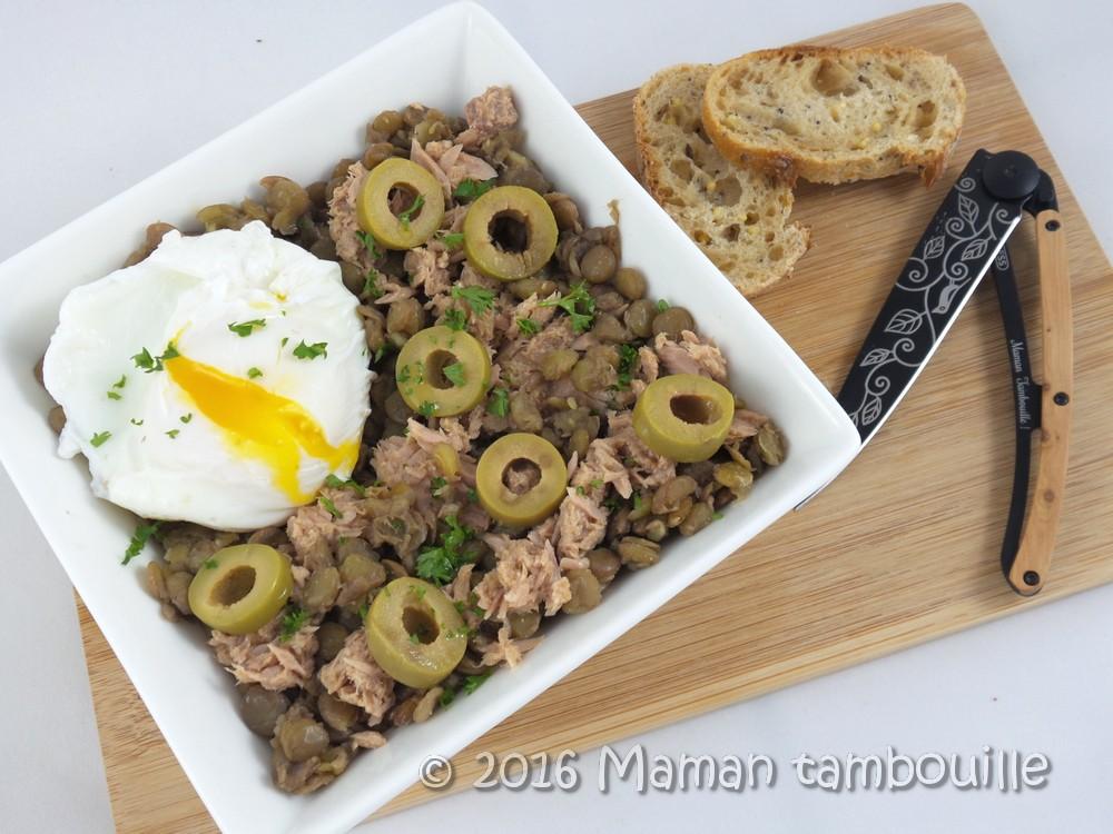 Salade de lentilles au thon et olives