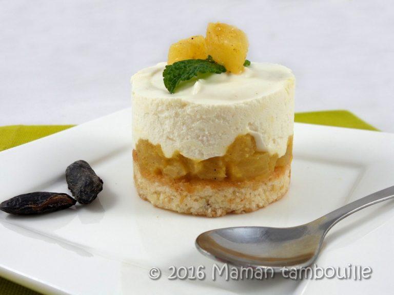 Read more about the article L'exotique ananas, financier coco, mousse ivoire tonka