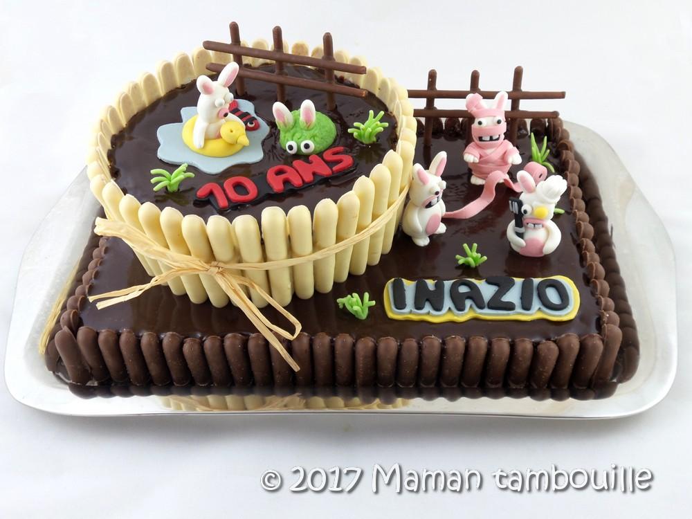 Gâteau d'anniversaire lapins crétins