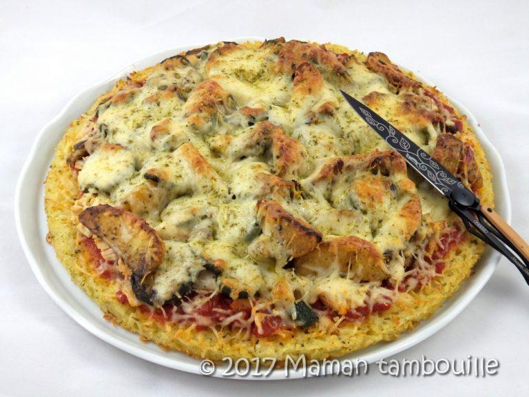 Rice pizza au poulet et légumes du soleil {sans gluten}