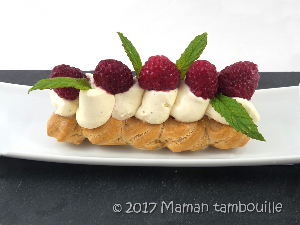You are currently viewing Eclair mousseline tonka et framboises