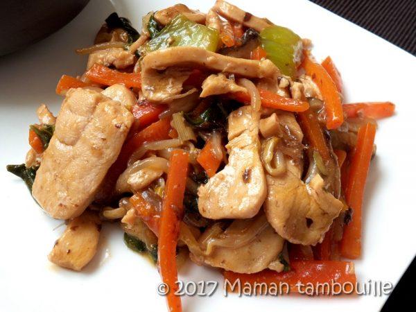 Wok de poulet teriyaki
