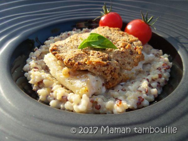 Cabillaud en croute de moutarde et risotto de quinoa