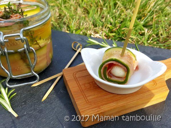Roulés de courgette mozzarella marinée
