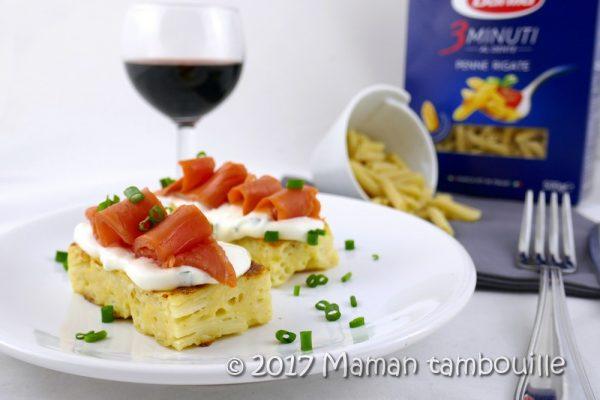 Pasta toast au saumon fumé