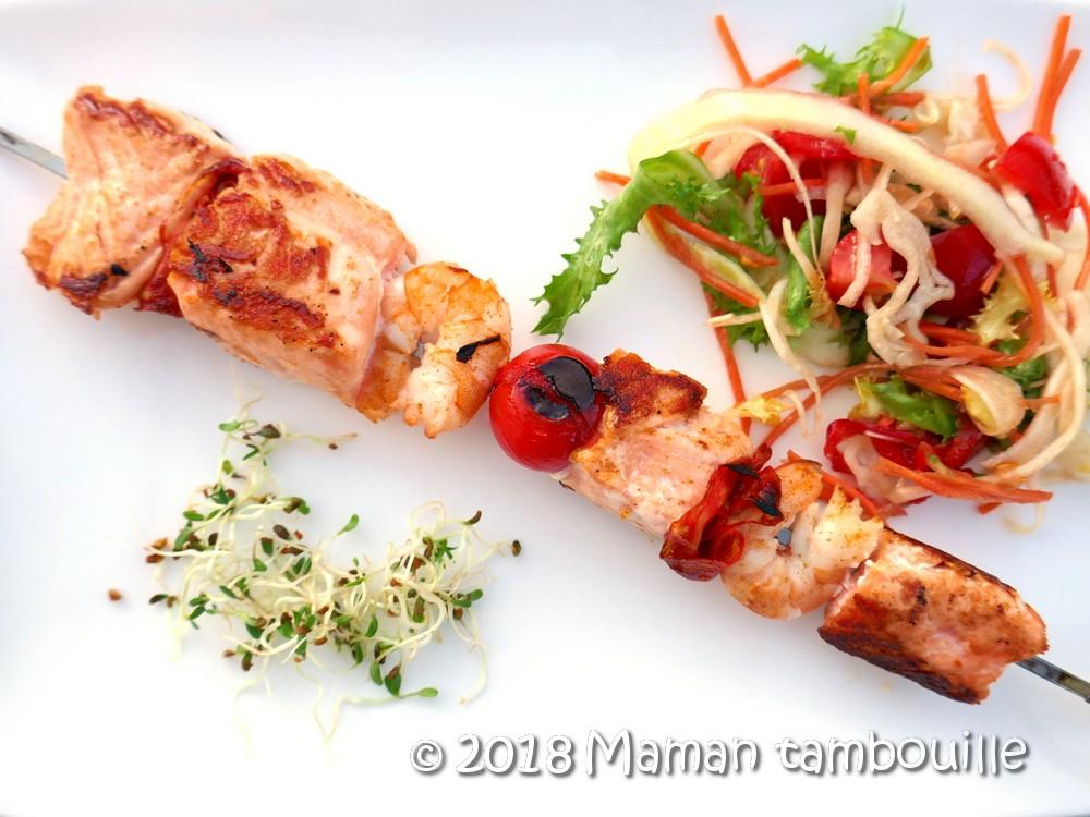 Brochette de saumon à la plancha