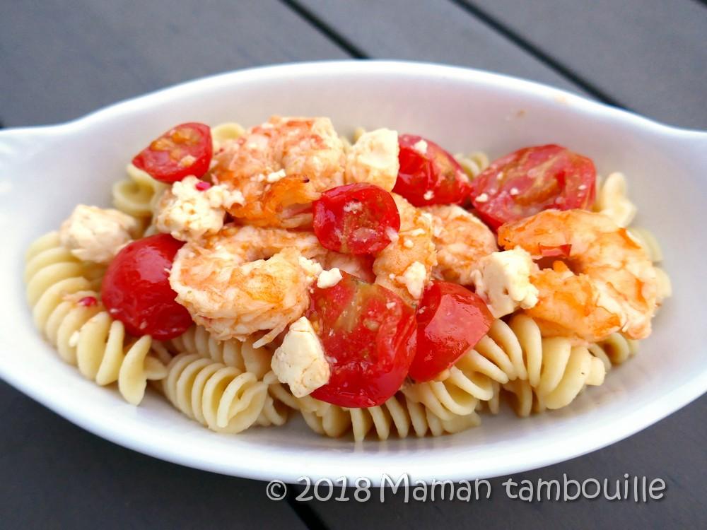 Read more about the article Crevettes tomates et feta sur lit de pâtes