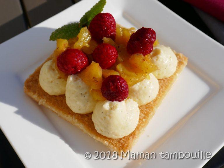Read more about the article Sablé, crémeux chocolat blanc et ananas poelé