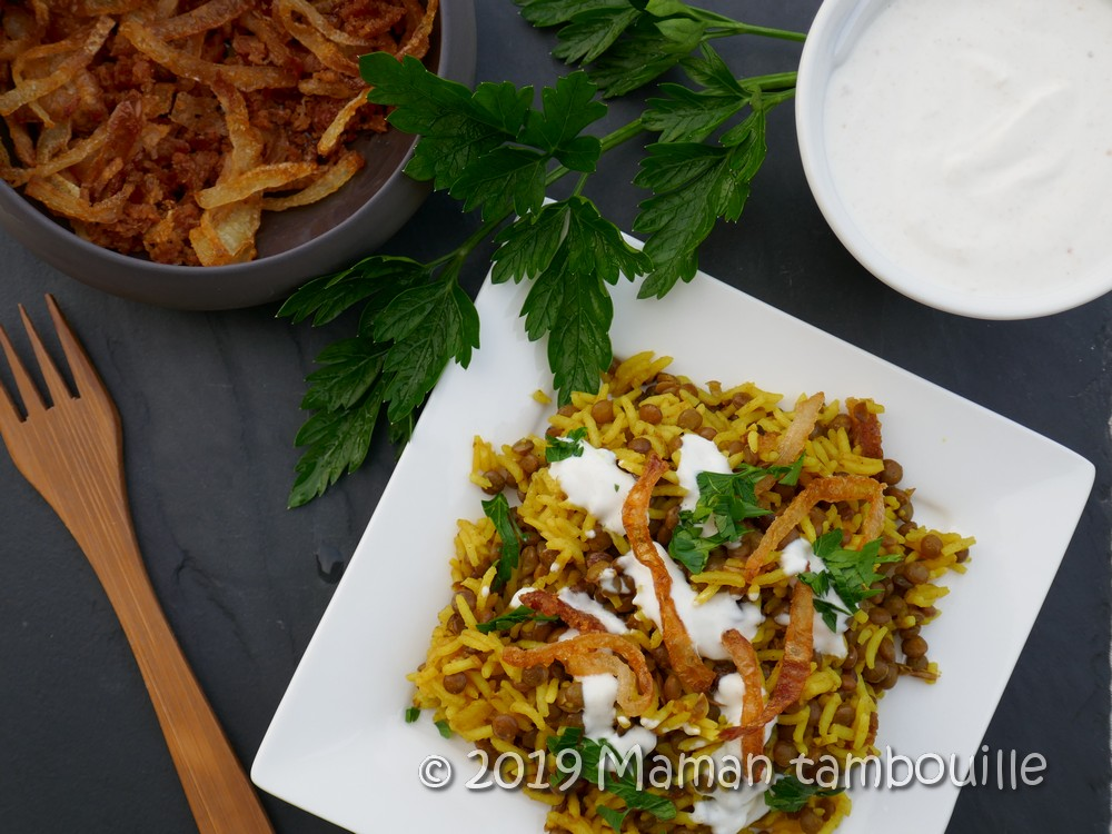 Mujadarra {riz aux lentilles libanais}