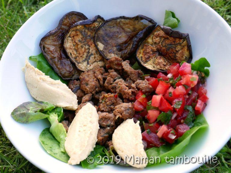 Assiette boeuf, houmous, aubergines