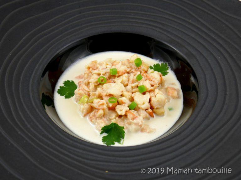 Ajo blanco aux crevettes marinées