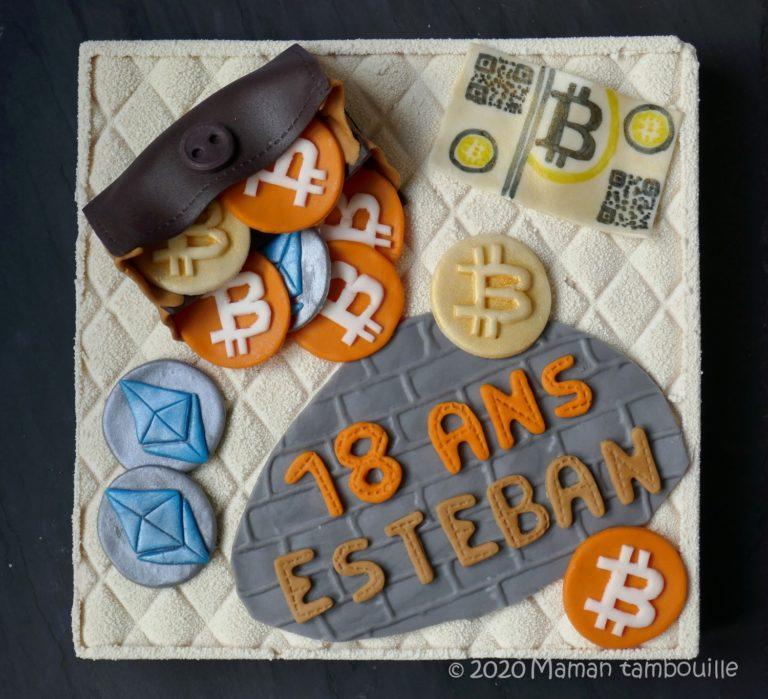 Entremets Bitcoin chocolat ruby cerise