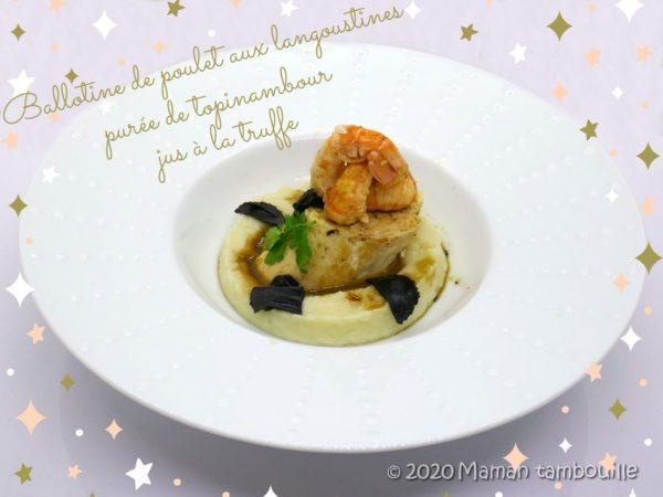 Ballotine de poulet aux langoustines, purée de topinambour, sauce à la truffe